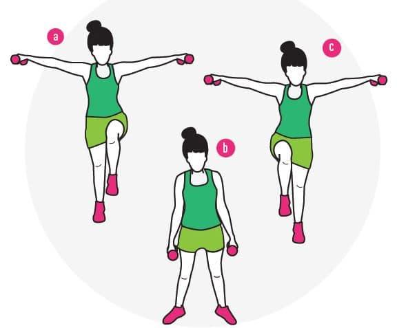 elevacion de rodillas con elevaciones laterales