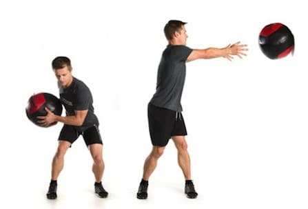 Split squat con pase lateral