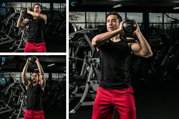 ejercicios de hombros con pesa rusa